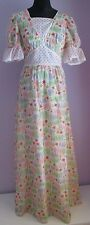 VTG Ladies Unbranded White Multi Floral/Dot Lined Polycotton Maxi Dress Size 8