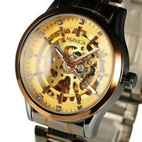Mens Watch Mechanical Gold Dial Stainless Steel Band Self-winding Retro Luxury