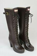 "Hunter Lapin Lace-up Espresso Rain Boots 4"" Heel Knee-High Waterproof US 8Rare"