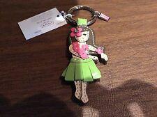 NWT COACH  LEATHER HAWAIIAN Hula Flower GIRL KEY FOB/KEY Ring #93159