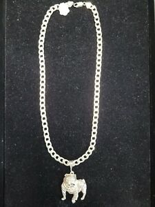 20 Inch Cuban Link Chain in 925 Sterling Silver with Bull Dog Pendant