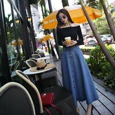 Womens Long Denim Jean Ladies Skirt A-line High Cowboy Waist Spring Dress Lot GU Light Blue M