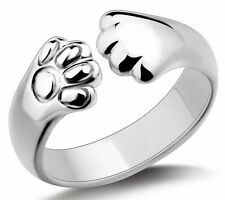 ADORABLE New CAT Lovers KITTEN PAWS Open Adjustable Silver Finger Ring US SELLER