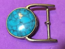 Vintage? Blue Ribbon Western Faux Turquoise Centerpiece Cowboy Belt Buckle