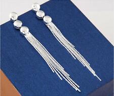 Women Fashion Jewelry 925 Sterling Silver Plated Long Tassel Dangle Stud Earring
