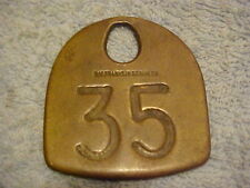 Vintage Brass Cow Ear Tag--OM Franklin Serum Co--1937-63--Great Patina-Excellent