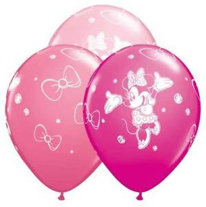 """6 pc - 11"""" Disney Minnie Mouse Latex Balloons Party Decoration Happy Birthday"""