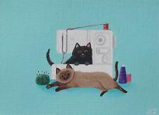 ACEO original/sewing craft kitties cat/animal/acrylic/miniature/OOAK/painting