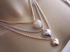 Collier Damen Hals Kette Modekette Modeschmuck kurz Tricolor Strass 3 x Herz