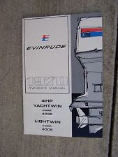 1970 Evinrude Outboard 4 HP Yachtwin Lightwin Owner Manual Model 4036 4006  S