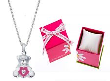 D FOR DIAMOND PINK TEDDY BEAR STERLING SILVER PENDANT & NECKLACE BOXED GIRLS