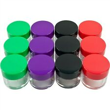 Set of 12 Color Coded Small Plastic 20 Ml Plastic Jars with Screw on Lids