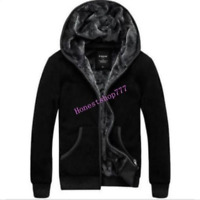 Winter Mens Coat Hooded Warm Thicken Hoodie Fur Lined Jacket Zip Fleece Overcoat