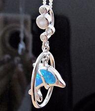 Opal Delphin Anhänger mit Kette Kinder Delfin 3D Schmuckset 925 Sterling Silber