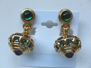 Vintage Swarovski Swan Signed Jelly Glass Cabochon Dangling Clip on Earrings