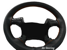 BLACK LEATHER STEERING WHEEL COVER FOR OPEL VAUXHALL CALIBRA 89-98 ORANGE STITCH