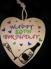 Happy Birthday Hanging Heart, 20th,30th,40th,50th Etc Any Colours...