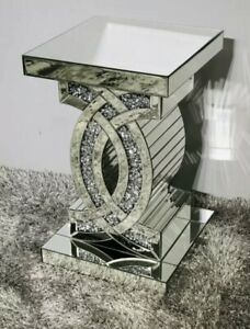 Mirrored Crushed Crystal Diamond Pedestal Table End Table Lamp Table 40x40x65cm
