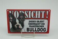 FRANZÖSICHE BULLDOGGE BULLDOG - Tierwarnschild - VORSICHT Warnschild 20x12 cm 22