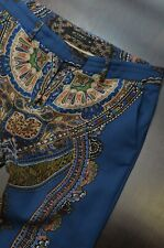 ETRO Milano Women's Blue Wool Paisley Trousers Pants Size 44 Made in Italy
