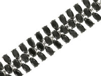"8""- 30.35ctw Oval Black Spinel Sterling Silver Bracelet"