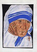 Mother Teresa Painting Handmade West Bengal Kolkata Tribal Folk Miniature Art