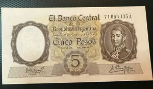 1960-62 (ND) ARGENTINA 5 PESOS NOTE NICE UNCIRCULATED