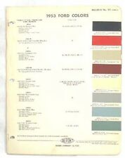 1953 FORD DUPONT COLOR PAINT CHIP CHART ALL MODELS ORIGINAL