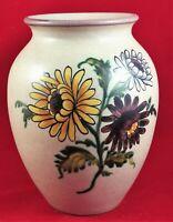 Hand Painted Art Glazed Vase Ceramic Pottery Vintage Folk Artsy Signed Flower