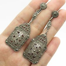 Antq 925 Sterling Silver Real Marcasite Gemstone Unique French Back Earrings