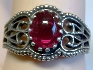 Red Ruby Ring Size 8.5 Antique 925 Sterling Silver Vintage Royal Style USA Made