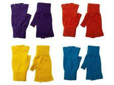 Ladies Lambswool Fingerless Gloves - British Made Orange Blue Yellow Purple