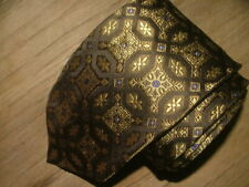 MENS SANTORELLI TIE 100% HEAVY SILK HAND MADE IN ITALY BLACK GOLD FLORAL #070