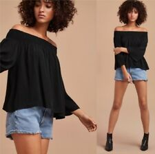 NWT $130 Talula aritzia black shirt marcilly off shoulder boho retro blouse S