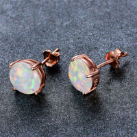 8mm Rose Gold Filled Round Cut White Fire Opal Stud Earring Wedding Jewelry Gift