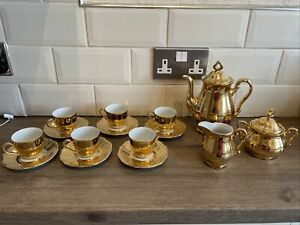 WINTERLING Marktleuthen Bavaria  Vintage Gold Coffee Set China 15 Piece 6 Cups