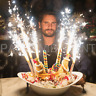 120 Sparkling Cake Wedding Bottle Service Sparklers Candles Club Birthday Blue