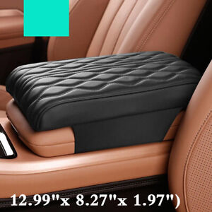 Black Leather & Memory Foam Car Armrest Pad Cover Center Console Box Cushion Mat