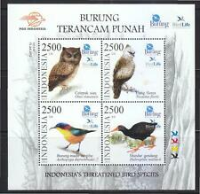 INDONESIA 2012 THREATENED BIRD SPECIES SOUVENIR SHEET OF 4 STAMPS IN MINT MNH