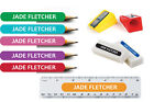100 x Kids Pencil Pen Stationary Name school labels personalised Stickers Small