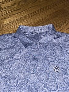 New C&B Auburn Tigers Polo Golf Shirt Size Men XXXL 3XL Blue Gray Spandex Floral