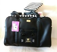 New Luv Betsy Johnson Weekender + Wristlet Black White Faux Leather #180627-360