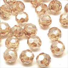 Lot de 20 Perles à FACETTES 8mm en Cristal Beige