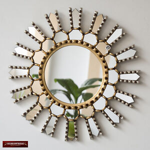"Peruvian Decorative Sunburst Wall Mirror 17.7"", Accent Round Mirrors wall decor"