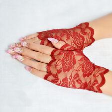 Sun Block Women Lace Flower Hand Warm Knitted Long Half Wedding Finger Gloves