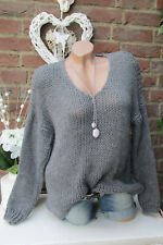 chaud DOUILLET pull tricot grossier Pull vintage EXTRA-LARGE gris lurex 36 38 40