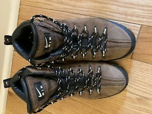 Vintage ACG Nike Air Hiking Trail Boots Mens 8 Brown Leather Grip Sole Rare NICE