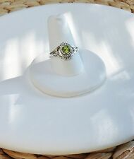 Peridot Poison Ring-Sterling Silver 925-Green Gem-Secret Compartment-Opens-Sze 7