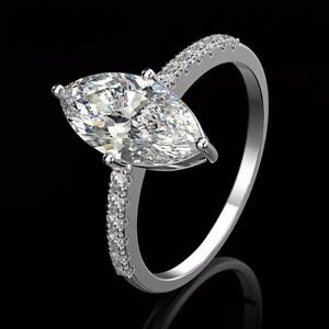 Luxury 925 Sterling Silver Marquise Created Moissanite Ring, Size 6-9 US