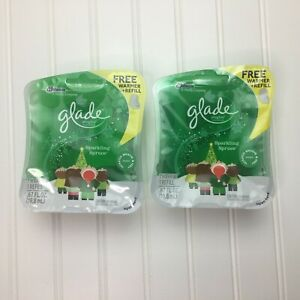 Glade Scented Oil Plugins Sparkling Spruce 2 Warmers & 2 Refills NEW Holiday